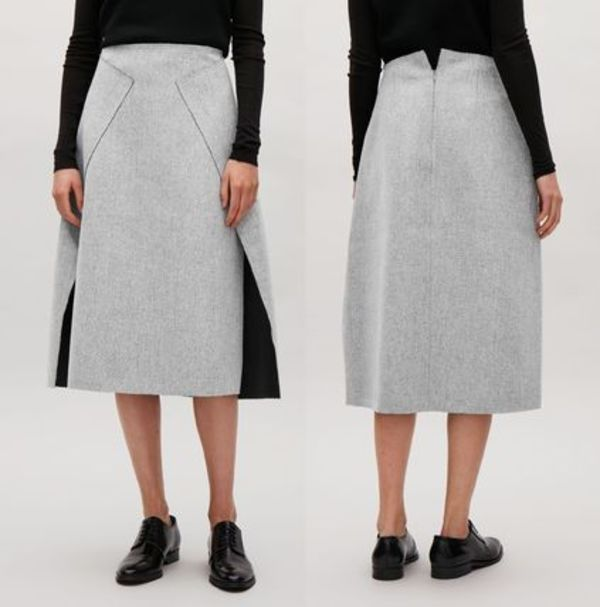 """""""COS""""WRAP-FRONT WOOL SKIRT GRAY"""