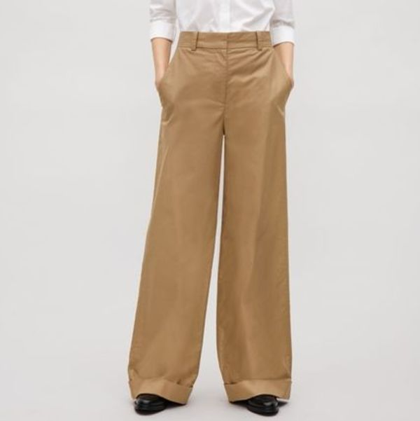 """""""COS""""LONG COTTON-TWILL TROUSERS TAN"""