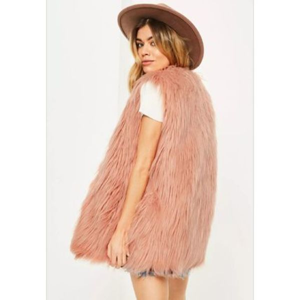 Missguided★pink faux fur フェイクファージレ ベスト 国内発送