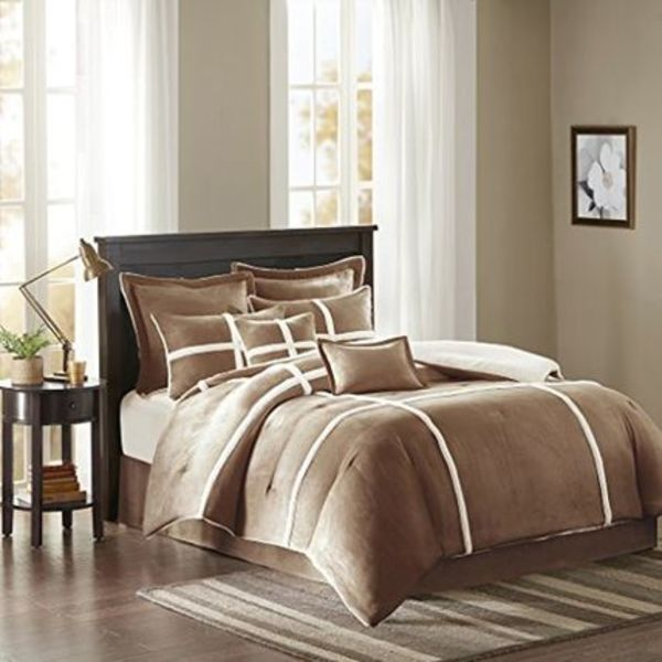 Weston Suede Comforter Set Brown Queen