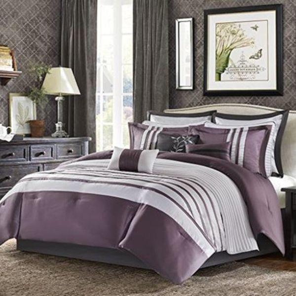 Harlem 12 Piece Jacquard Comforter Set Purple Queen