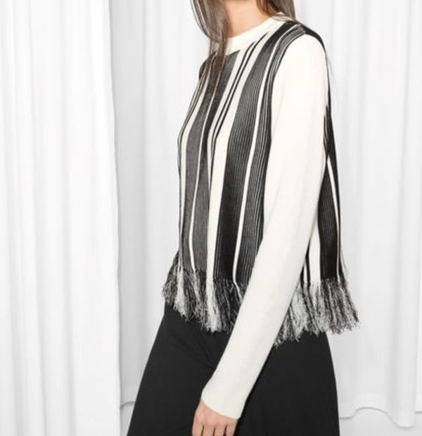 """& Other Stories""Striped Fringe Knit Black"