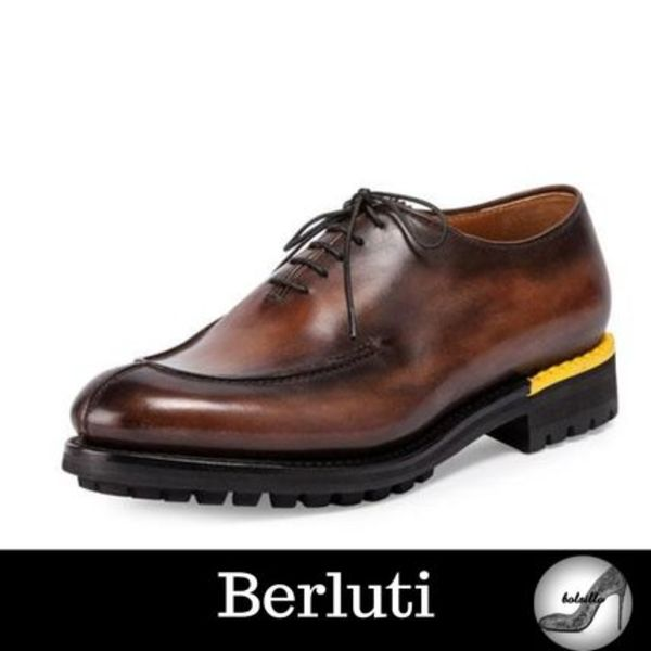 国内発送 関税込み【BERLUTI】Lace-Up Leather Oxford Brown