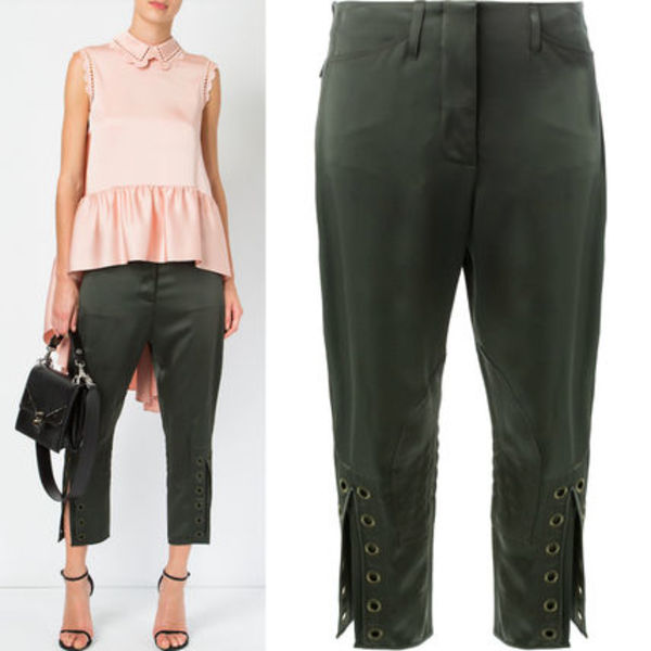 FE1638 CROPPED TROUSERS WITH EYELET DETAIL
