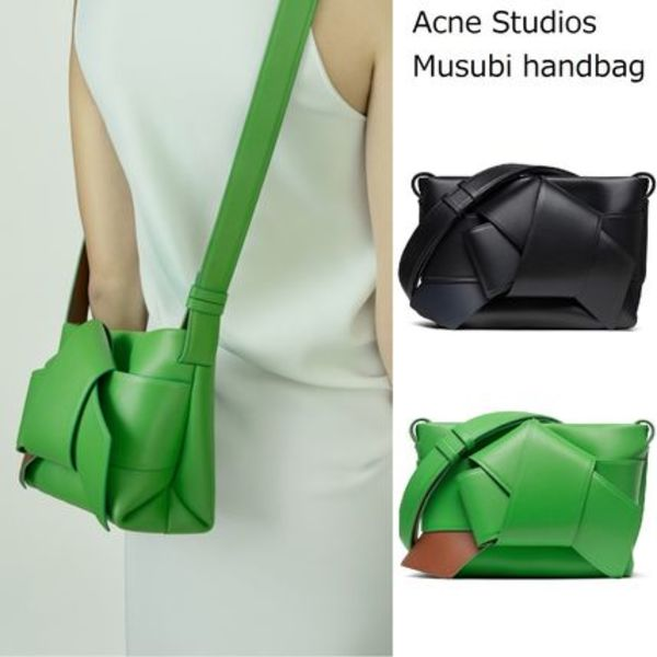 Acne Musubi handbag black/acid green 「むすび」ショルダー2色
