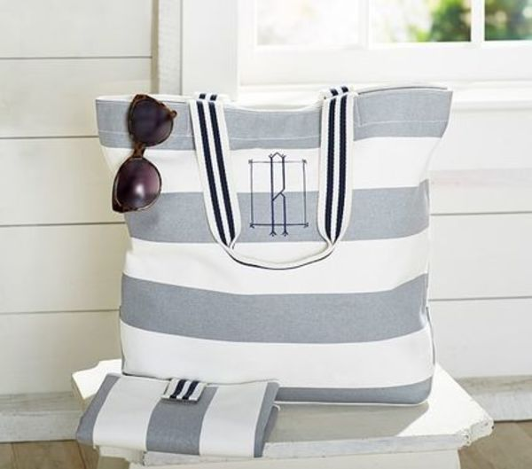 Pottery Barn☆Rugby Stripe Harper Tote☆マザーズ☆ロゴ入可