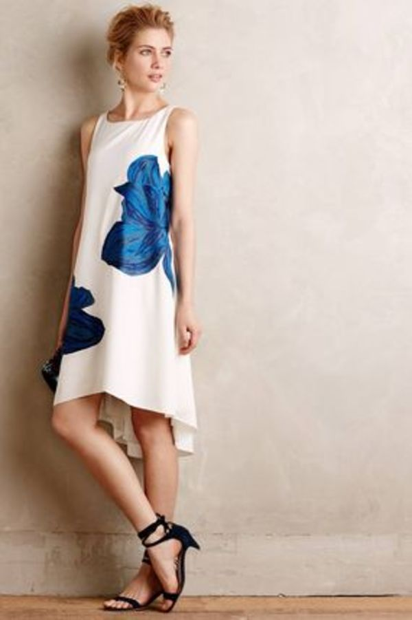 Anthropologie Embroidered Bluebell Dress
