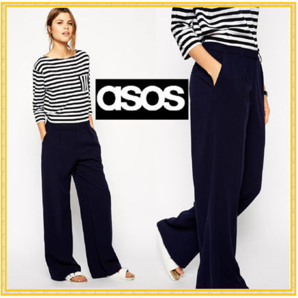 【ASOS】日本未入荷!★Wide Leg Trousers with Piping★