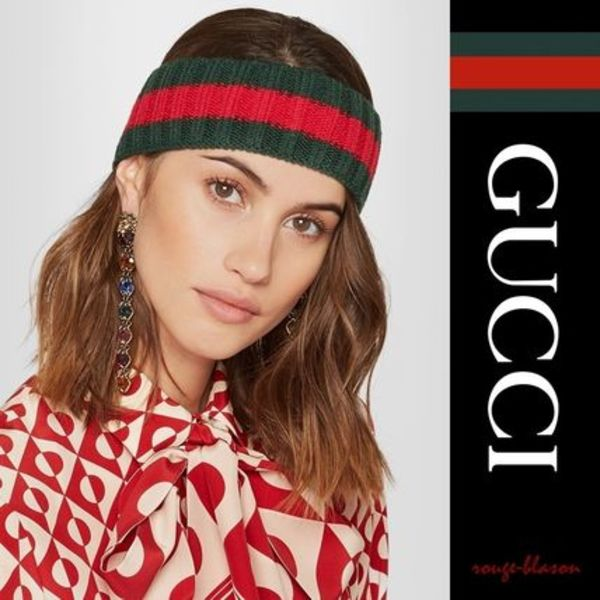 【国内発送】GUCCI ヘアバンド Embellished wool-blend headband