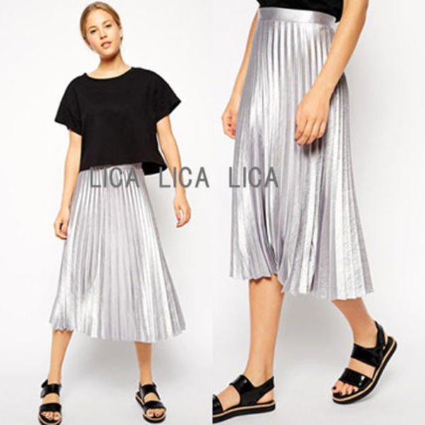 送料無料・国内発送ASOS Pleated Midi Skirt In Metallic