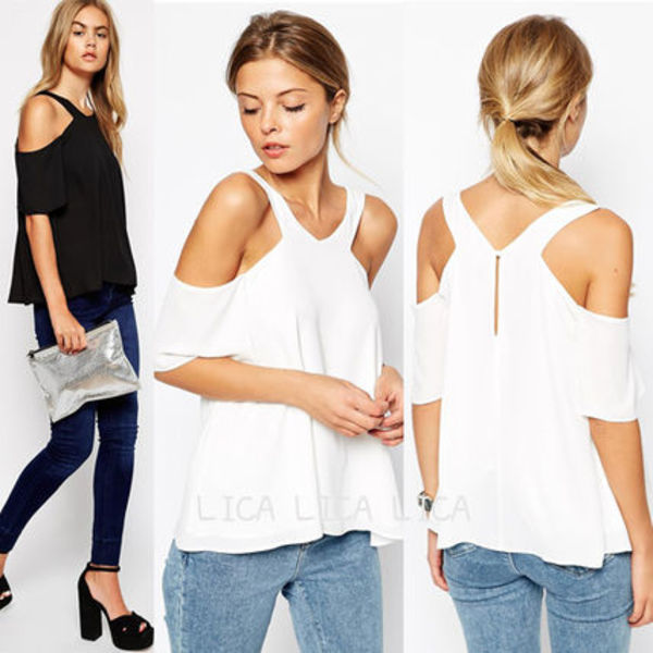送料無料・国内発送ASOS V Front Cold Shoulder Top
