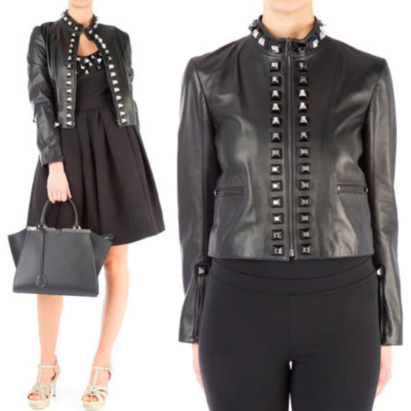 FE1297 BIKER JACKET WITH PYRAMID STUDS