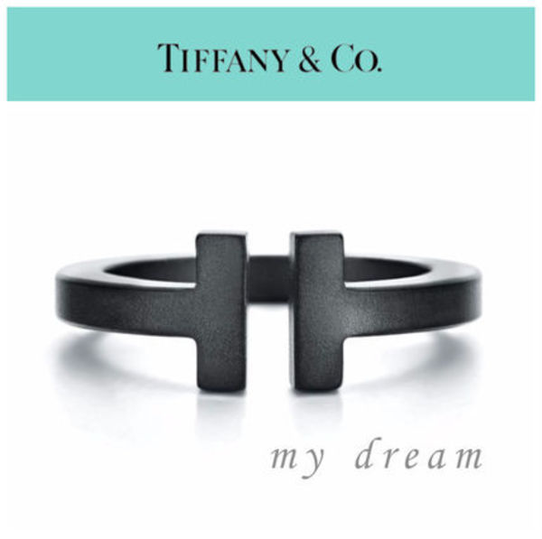 【Tiffany & Co】Tiffany T Silver Square Ring in Black