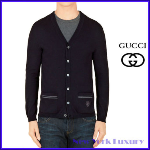 GUCCI★グッチ★素敵!Dark Blue Cotton Knit Cardigan