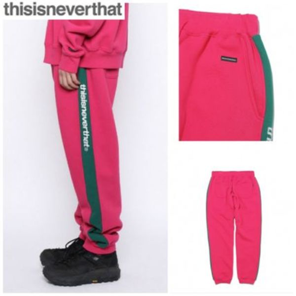 新作★thisisneverthat★Stripe SP-Logo Sweatpant pink