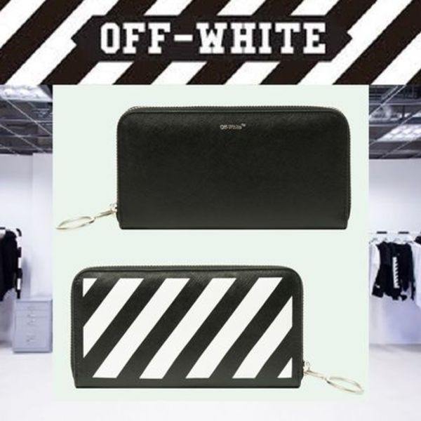 【17AW NEW】 Off-White_men /DIAG/MEDIUM ラウンドジップ長財布