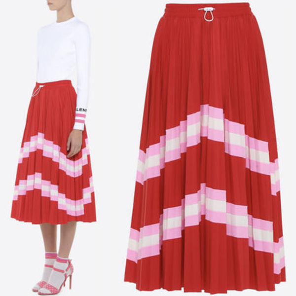 18SS V964 LYCRA PLEATED SKIRT WITH STRIPE PANEL