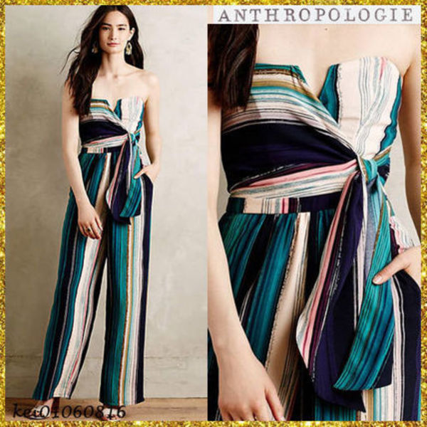 送料込【Anthropologie】Summerstripe Strapless Jumpsuit★Blue