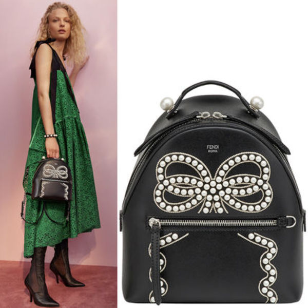 FE1868 LOOK28 BOW EMBELLISHED MINI BACKPACK
