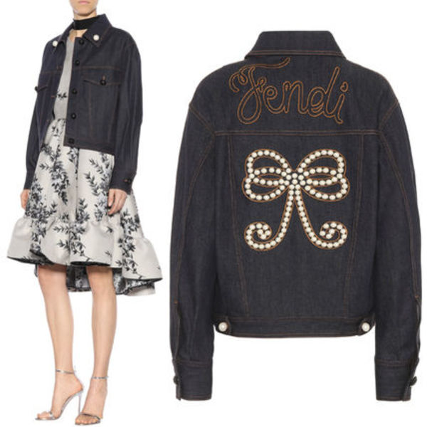 FE1888 PEARL EMBELLISHED DENIM JACKET