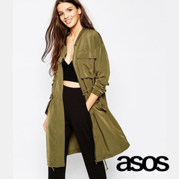ASOS☆エイソス☆Only Utility Drapy Parka カーキ
