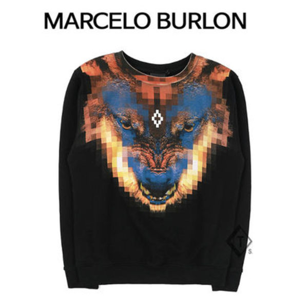 Marcelo Burlon ★ WOLF PRINTING SWEAT SHIRT BLACK