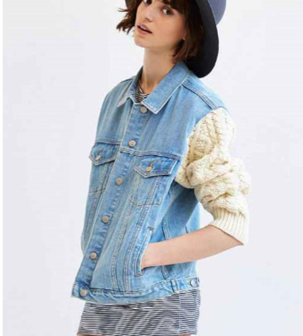 ★U.O限定コラボ★ユニフ Sweater-Sleeve Denim Jacket