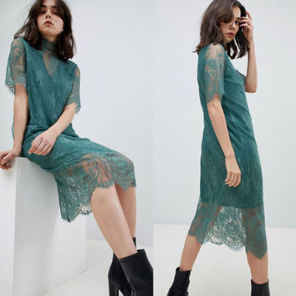 ASOS Pieces T-Neck Lace Midi Dress T=ネック ミディドレス