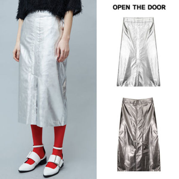 ★OPEN THE DOOR★韓国の人気★metallic pencil skirt (2 color)