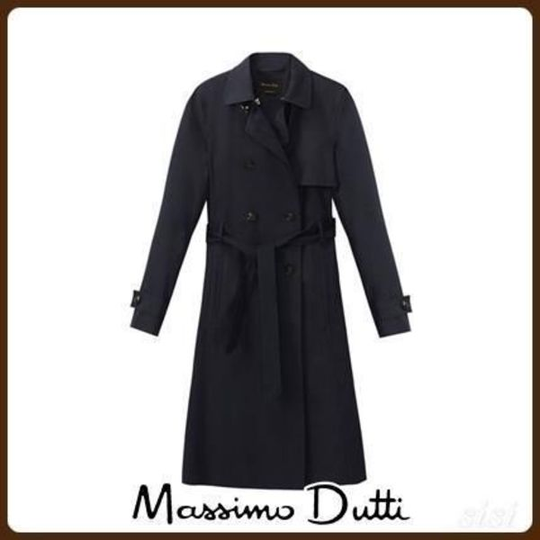 MassimoDutti♪COTTON TRENCH COAT WITH BELT DETAIL