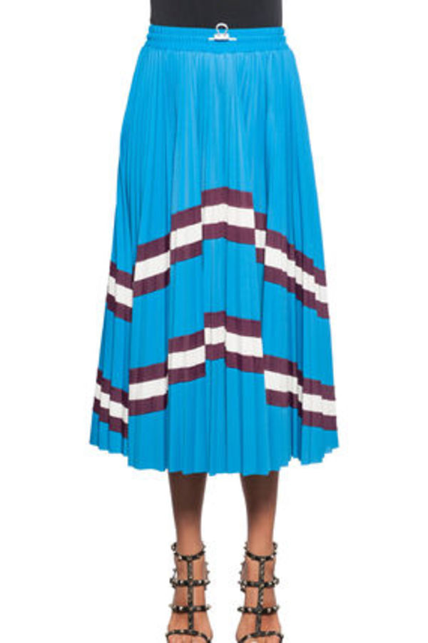 18SS V966 LYCRA PLEATED SKIRT WITH STRIPE PANEL