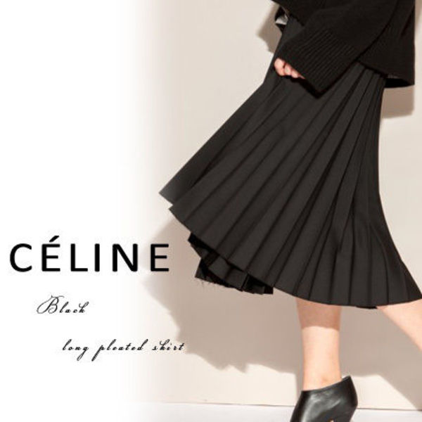 【CELINE】Black long pleated skirt