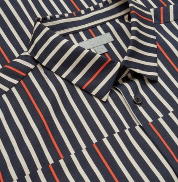 """COS MEN""STRIPED COTTON-TWILL SHIRT ORANGE"