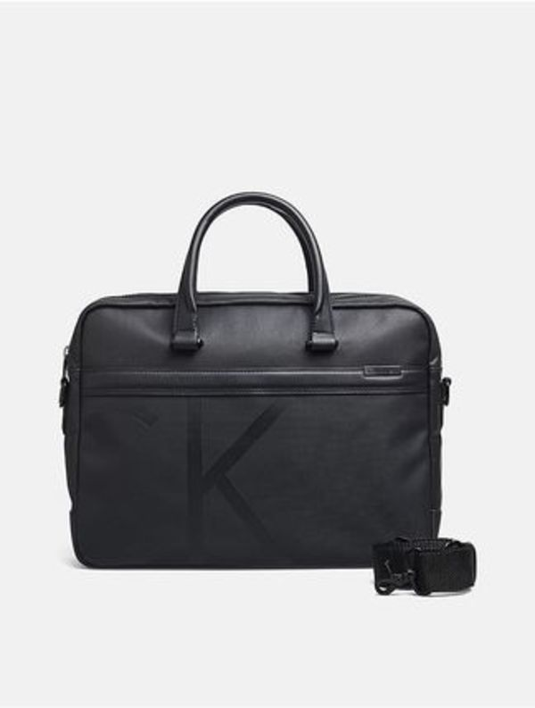 Calvin klein coated-canvas-laptop-bag-black