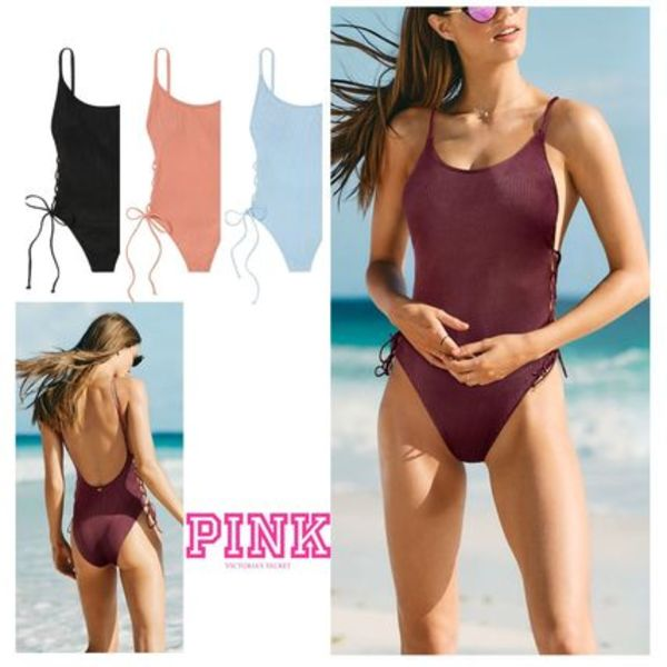 PINK新作!スタイルUP♡RIBBED LACE-UP ONE-PIECE