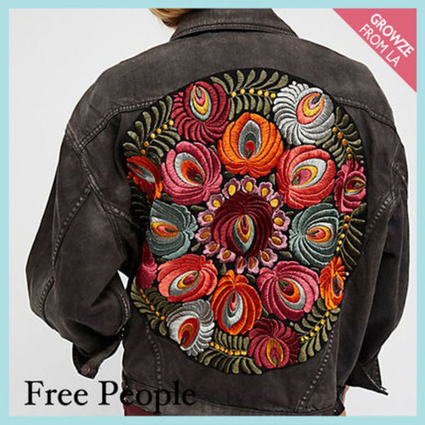 【Free People】花柄刺繍ジャケット Embroidered Denim Jacket