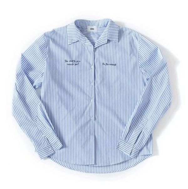 ★IZRO★日本未入荷 IZRO LETTERING STRIPE SHIRTーLIGHT BLUE