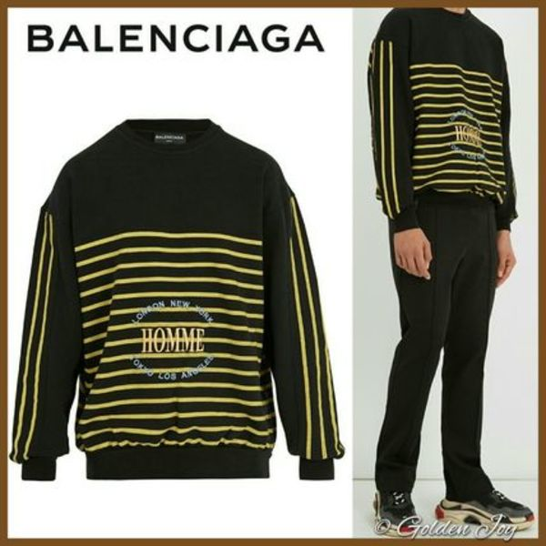 限定★Balenciaga★Oversized Striped-print Homme Sweatshirt