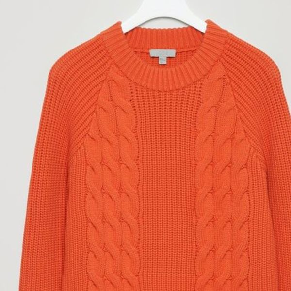 """COS MEN""CABLE-KNIT JUMPER ORANGE"