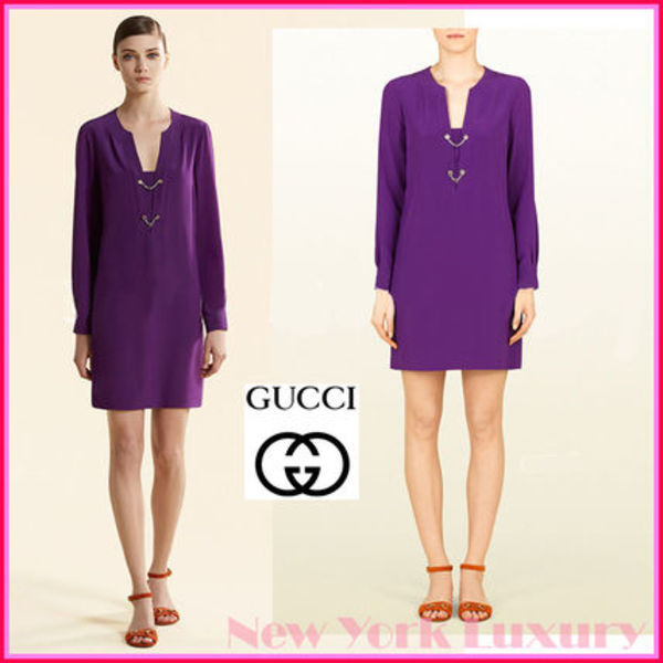 GUCCI★グッチ★素敵!PURPLE VIOLET CREPE DE CHINE DRESS