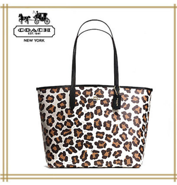 COACH ★ CITY TOTE IN OCELOT PRINT COATED CANVAS F35874