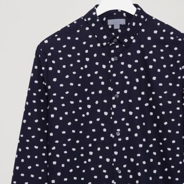"""COS MEN""DOT PRINTED SHIRT INDIGO"