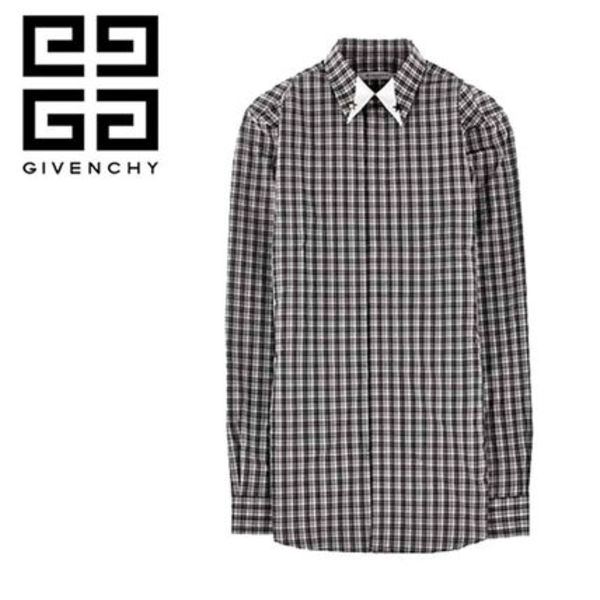 GIVENCHY (ジバンシィ) ★ NECK LINE STAR CHECK SHIRT GRAY