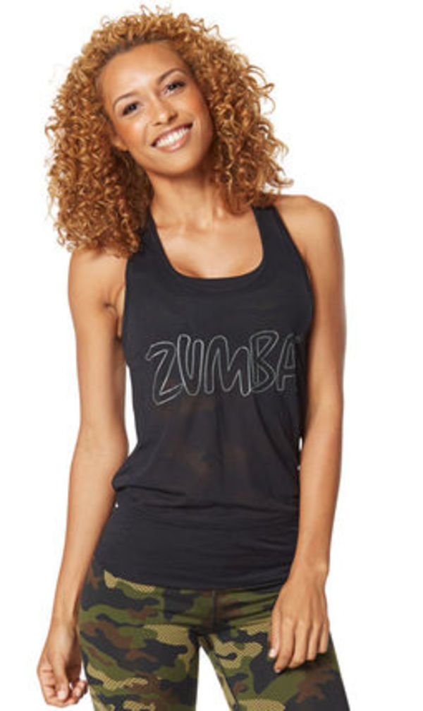 即納 【ズンバ】 Zumba Camo Burnout Bubble Tank Back to Black