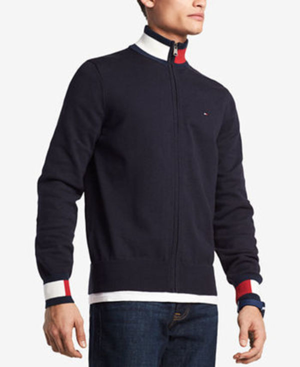 Tommy Hilfiger Complex Front-Zip Sweater