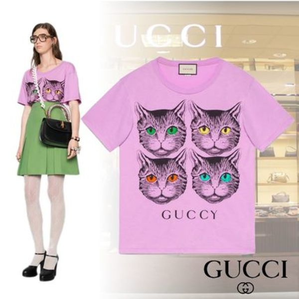 ◆2018SS◆Mystic Cat and Guccy print T-shirt