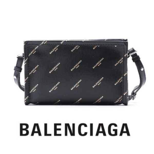 ALL OVER LOGO☆Balenciaga☆BAZAR POCHETTE 2wayバッグ BLACK♪