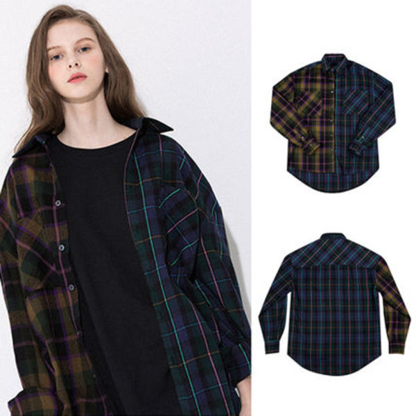 ★MOTIVESTREET★韓国の人気★MIX CHECK SHIRTS JACKET