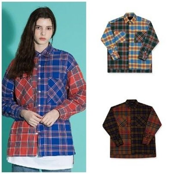 日本未入荷MOTIVESTREETのOVERFIT MIX CHECK SHIRTS 全3色