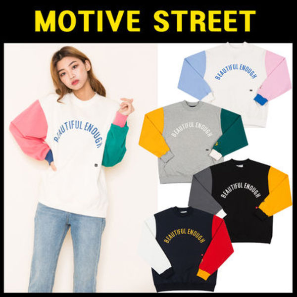 無料配送MOTIVESTREET★COLOR BLOCK SWEATSHIRT大人気商品